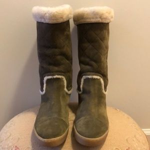 CHANEL OLIVE MATELASSE MOUTON SUEDE WINTER BOOTS